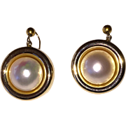 REDUCED Vintage 14K Gold Large Mabe Cultured Pearl Earrings