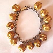 Vintage Gold Plastic Bumpy Beads Bracelet