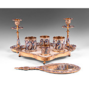 SOLD Late 19th C. French Champlevé Enamel Assembled 8-Piece Vanity Set