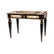 SALE Third Quarter 19th C. Viennese Ebonized Gilt Bronze Mounted Salon Table, Enamel Plaques