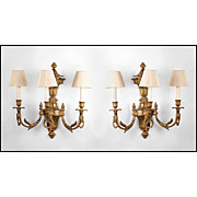 SALE Pr. Of French Louis XVI Bronze Three Arm Sconces