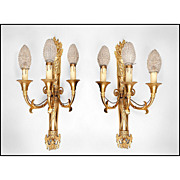 SALE 19th C. French Empire Bronze Sconces, Napoleonic Torch With Three Lights
