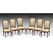 SALE Set of Six Louis XV Style Carved Dining Chairs