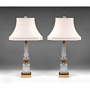 SALE Pair of Early 20th C. French Empire Style Cut Glass Column Lamps
