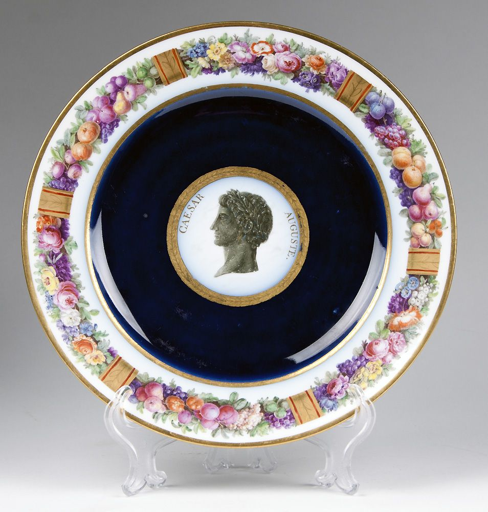 French Sevres Porcelain 1801-03 Fond Ecaille Plate, Assietee Unie