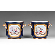 SALE Sevres Pair of 18th C. Soft Paste Flower Stands Or Cachepots