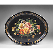 Early 20th C. Oval Hand Painted Floral Tole Tray, Oval Shape