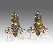 SALE Pair of 19th C. Cast Bronze Figurehead French Sconces With Prisms
