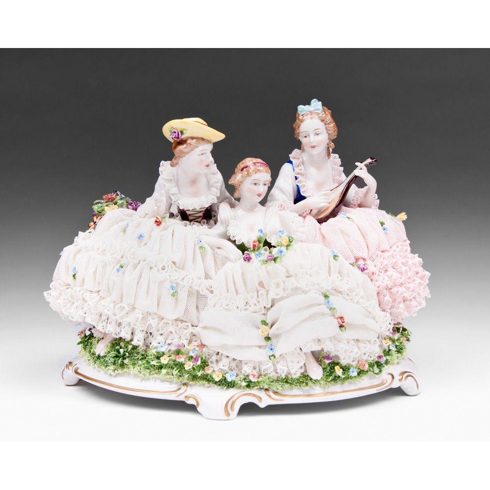 Unterweissbach German Porcelain Lace Figural Grouping