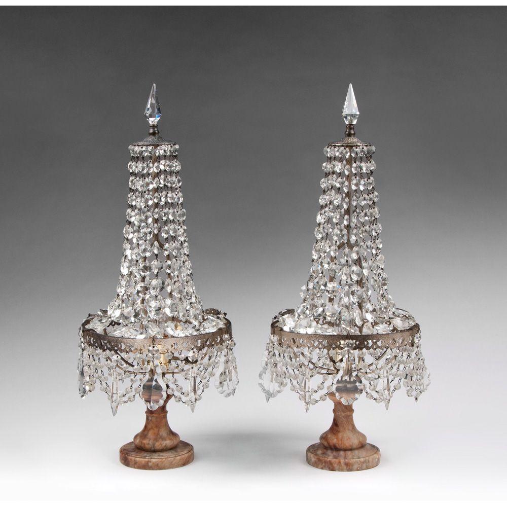 Pair of 19th Century Beaded Italian Crystal Girandoles