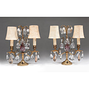 SALE Pair of Early 20th C. French Girandoles, Crystal Prisms