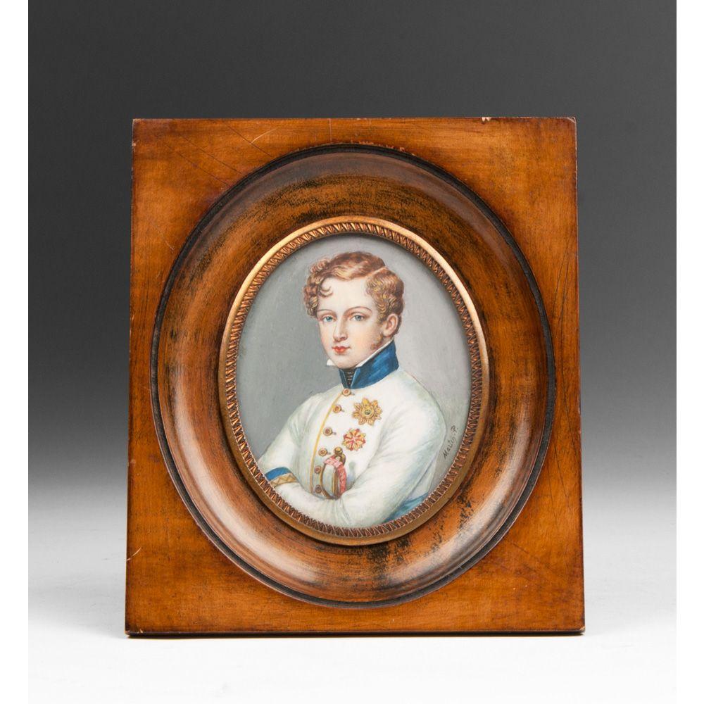 Miniature Watercolor Portrait of Napoleon II After Daffinger