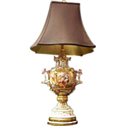 SOLD Paris Porcelain Desprez Hand Painted Urn Fitted As Lamp