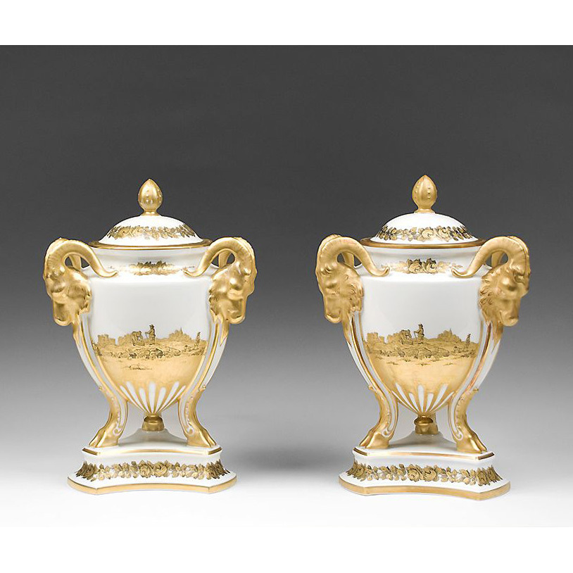 Pr. of Rosenthal Ram's Heads Gilt Finished Censers