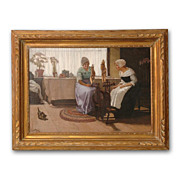SALE Danish Oil Painting of Young Girls At Spinning Wheel