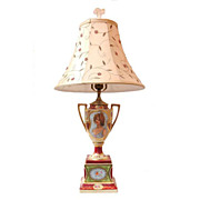 19th C. Hand Painted Royal Vienna Style Campana Urn Fitted As Lamp