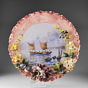 Large Minghetti Majolica Italian Charger With Applied Flowers and Birds