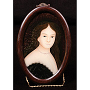SALE China Trade Grand Tour Reverse Glass Painted Portrait
