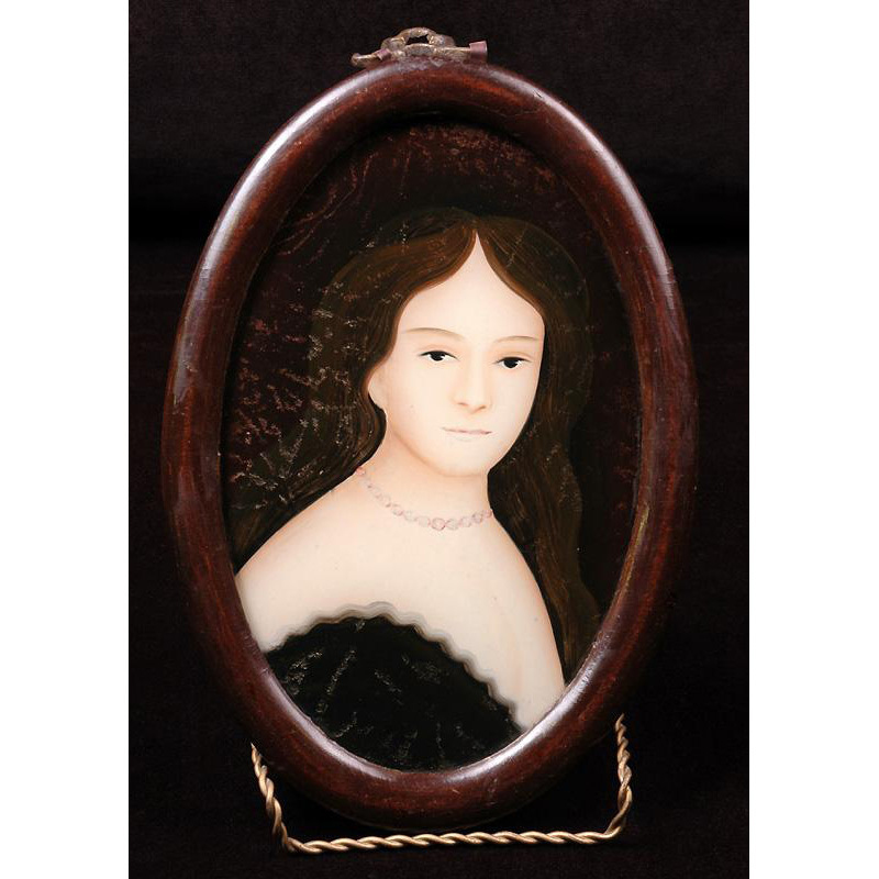 China Trade Grand Tour Reverse Glass Painted Portrait