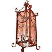 SALE Wrought Iron Hanging Lantern With Seed Glass Panels