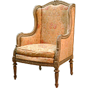 Louis XVI Winged Bergere, Antique Finish