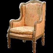 Louis XVI Winged Bergere, Antique Finish