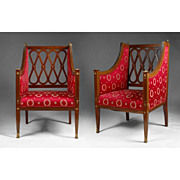 SALE Pair of late 19th C. Neoclassical Baltic Bergére Chairs