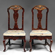 SALE Pr. of 18th C. George II Red Japanned Side Chairs
