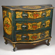 SALE Painted Venetian Commode, Rococo Style, Teal & Ochre Reserves
