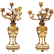 Louis XV Marble and Bronze Finely Cast 4-Arm Candelabras