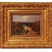19th C. J. Langlois Terrier Oil Painting, Antique Frame