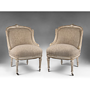 SALE Pr. Of French Belle Epoque Period Chairs With Distressed Finish