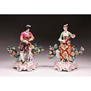 SALE Pair 19th C. Porcelain Chelsea Style Bocage Figures
