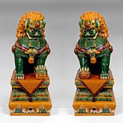 SALE Qing Dynasty Temple Guardian Lion Foo Dogs with Sancai Glaze