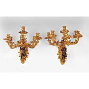 SALE Pair Of 19th C. Louis XV Patinated Bronze Cast Six Light Sconces