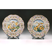 Pair Of Vintage Italian Majolica Wall Chargers