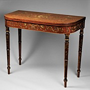SALE Edwardian Games Table With Hand Painted Floral Decoration