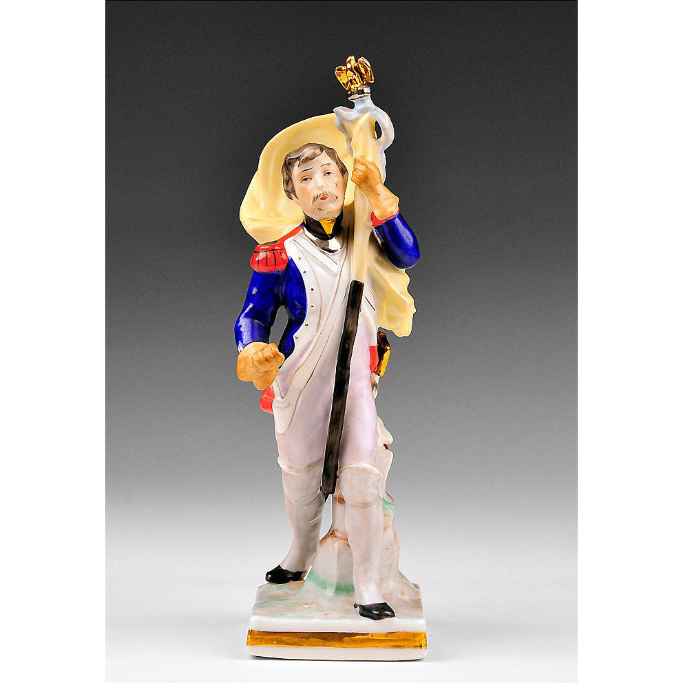 Voight Brothers Sitzendorf Porcelain Figurine of Prussian Soldier