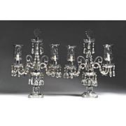 SALE Crystal Two-Light Candelabras