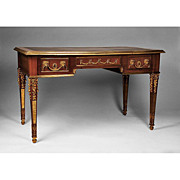 Neoclassical Louis XVI Writing Table or Bureau Plat Desk With Bronze Mounts
