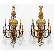 SALE Pr. of Early 20th C. Neoclassical Bronze Nine Light French Sconces