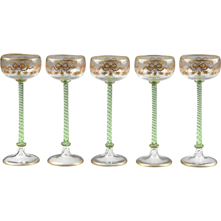 Five 19th Century Venetian Enameled Wine Goblets