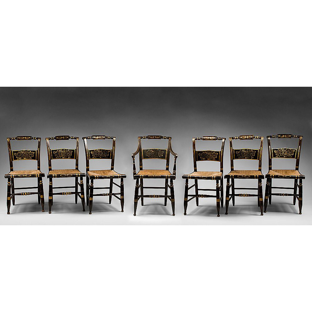 Set Of Seven Stenciled 19th C Hitchcock Chairs