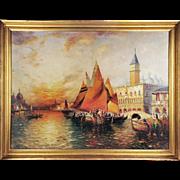 SALE O/C Venetian Harbor Landscape by Richard Dey de Ribcowsky