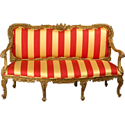 SALE 18th C. Venetian Rococo Parcel Gilt Hand Carved Settee