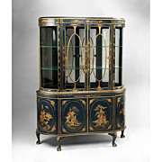 Late Edwardian Chinoiserie Decorated Queen Anne Style China Cabinet