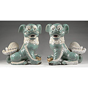 Pr. of 19th C. Chinese Export Porcelain Celadon Lion Dogs