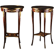SALE Pr. Of Inlaid Louis XV Style Bronze Mounted Side Tables