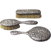 SALE Gorham Repousse Sterling Silver Mirror and Brush Set