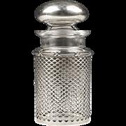 Man's Stoppered Cologne Bottle Inset In Sterling Grillwork Frame, Meriden Britannia Co.